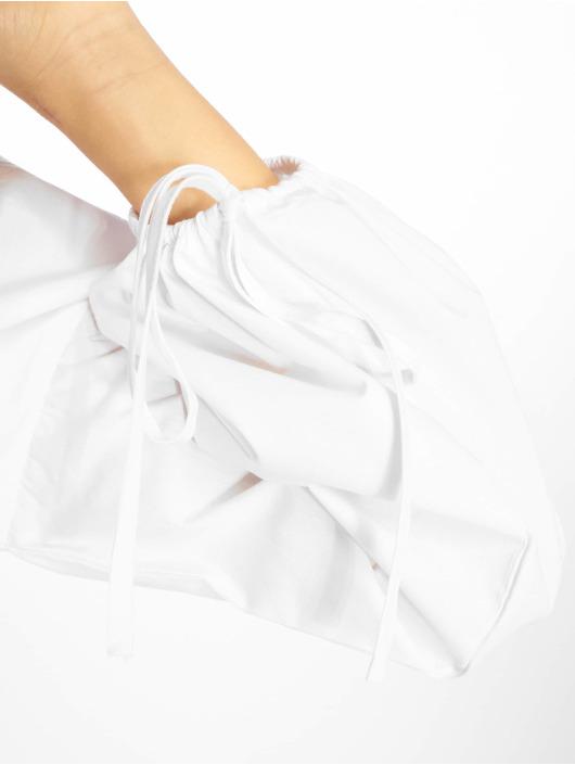 Missguided Bluzka/Tuniki Shirred Poplin Top With Tie Sleeve bialy