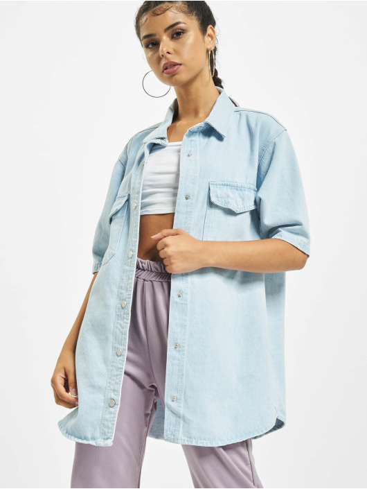 Missguided Bluzka/Tuniki Short Sleeve niebieski