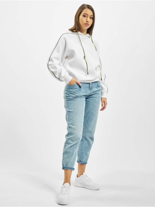 Missguided Bluzy z kapturem Co Ord Contrast Seam Toggle Detail bialy