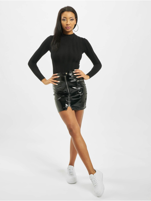 Missguided Body Petite Extreme Rib Crew Neck čern