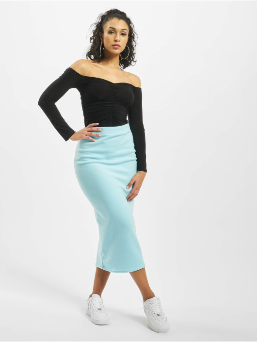 Missguided Body Ruched Centre Bardot Long Sleeve čern