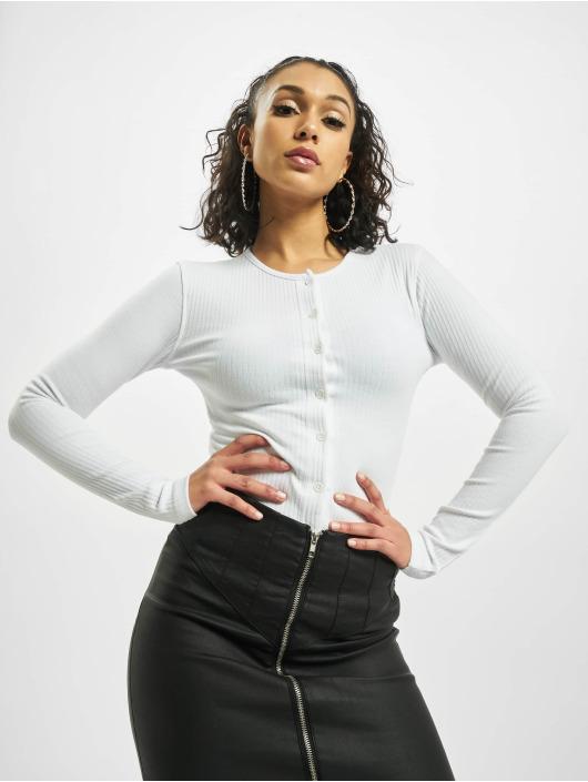 Missguided Body Button Front Rib Long Sleeve bílý