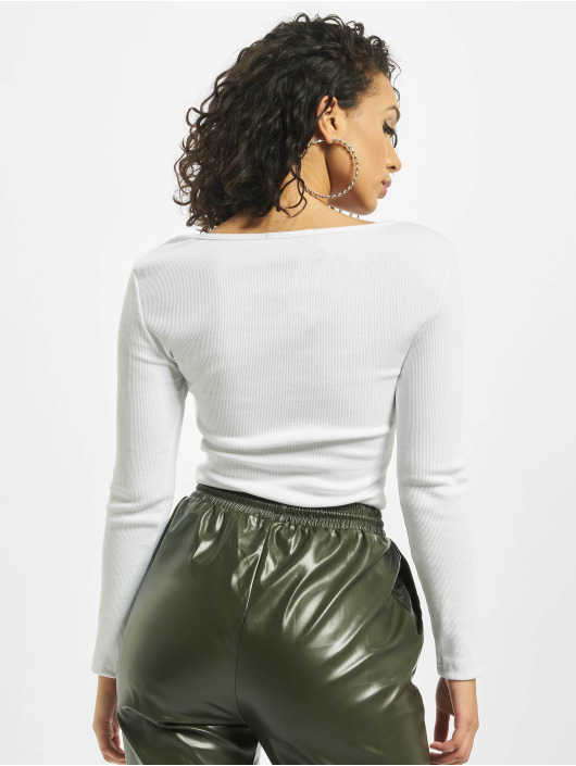 Missguided Body Petite Zip Front Long Sleeve bílý
