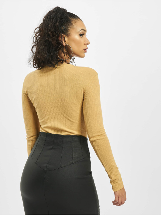 Missguided Body Button Front Rib Long Sleeve bezowy
