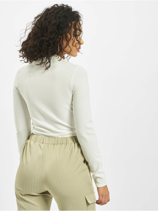 Missguided Body Collar Detail Corset Long Sleeve bialy