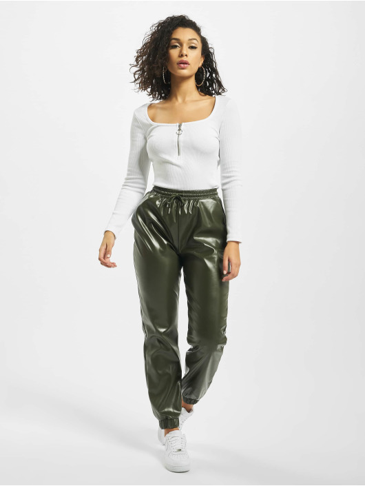 Missguided Body Petite Zip Front Long Sleeve bialy