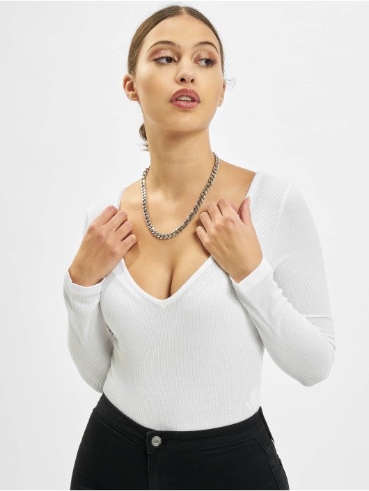 Missguided Body V Neck Ribbed bialy