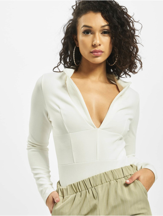 Missguided Body Collar Detail Corset Long Sleeve bianco