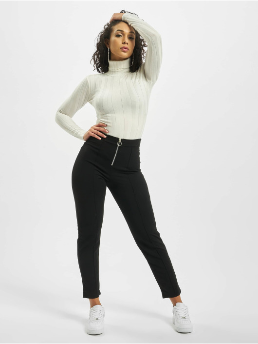 Missguided Body Petite Extreme Rib Roll Neck bianco