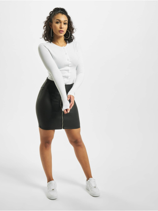 Missguided Body Button Front Rib Long Sleeve biela