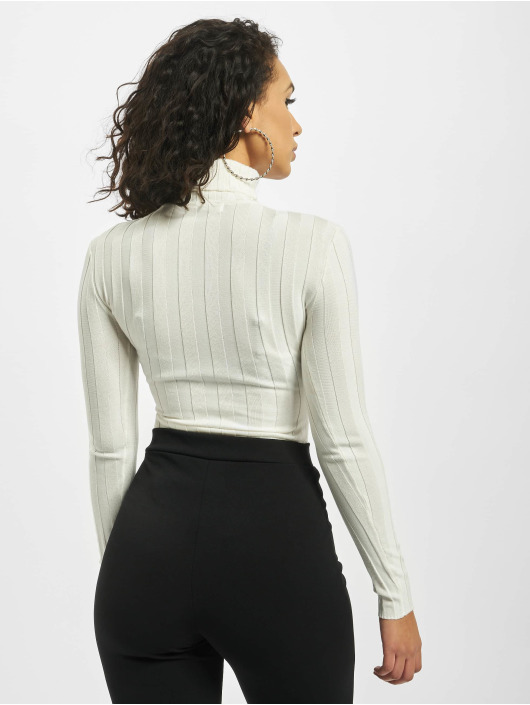 Missguided Body Petite Extreme Rib Roll Neck biela