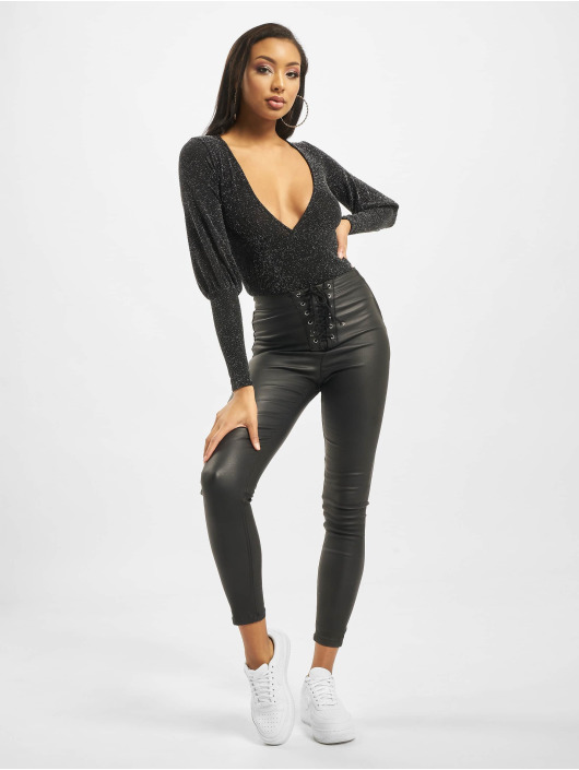 Missguided Body Longsleeve Deep Cuff Glitter Wrap black