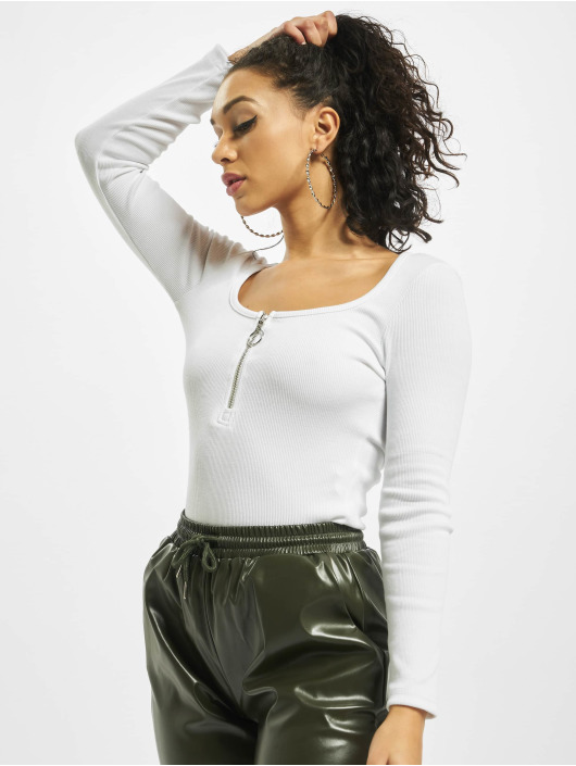 Missguided Body Petite Zip Front Long Sleeve blanco