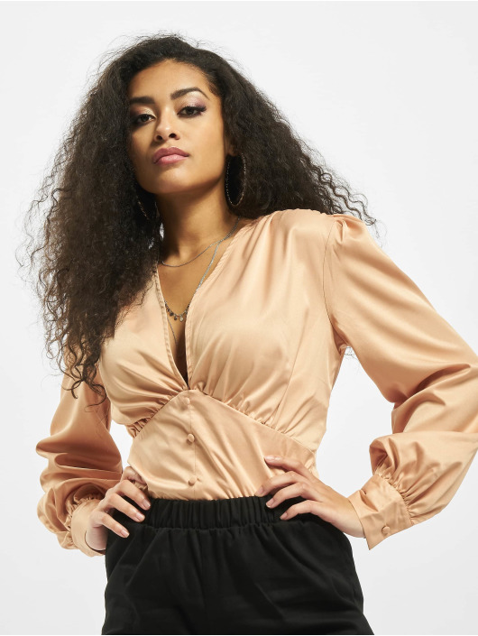 Missguided Body Covered Button Plunge brown