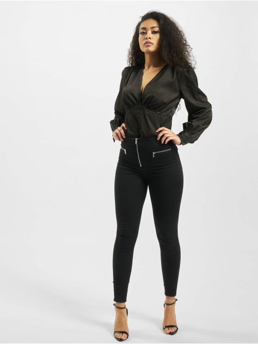 Missguided Body Covered Button Plunge czarny