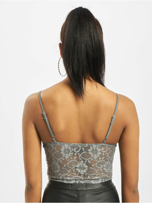 Missguided Body Petite Strappy Lace Cupped grey