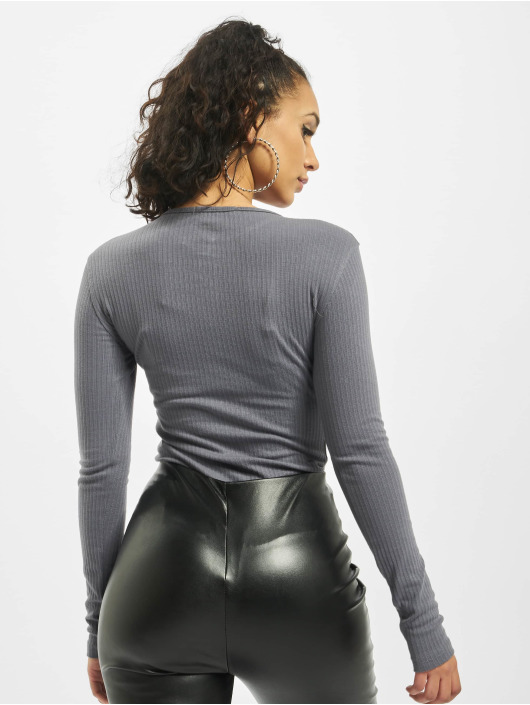 Missguided Body Button Front Rib grigio