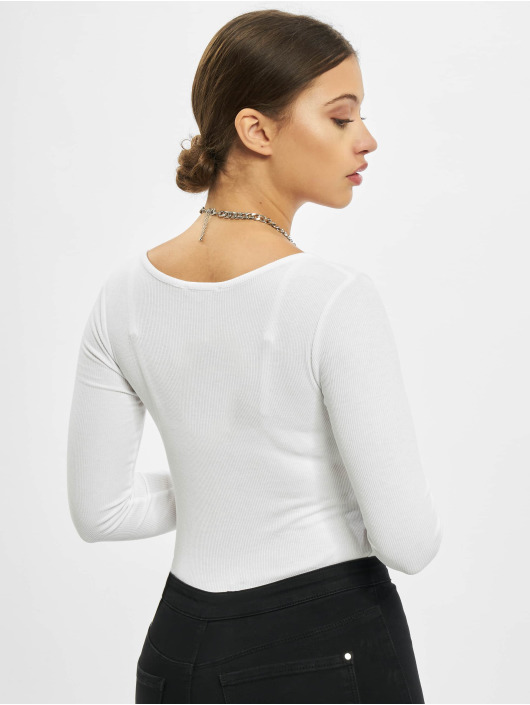 Missguided Body V Neck Ribbed hvit