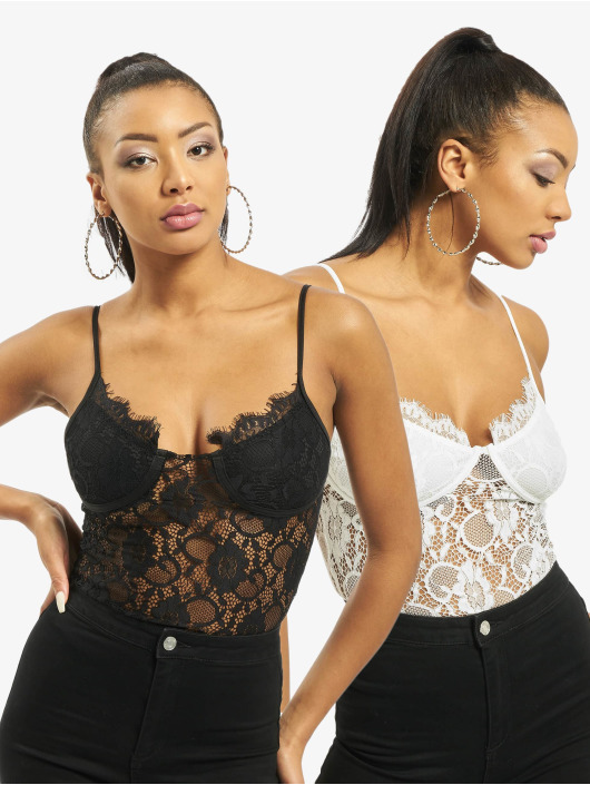 Missguided Body 2 Pack Lace musta