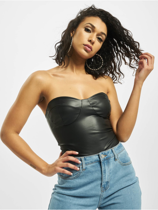 Missguided Body Faux Leather Bandeau musta