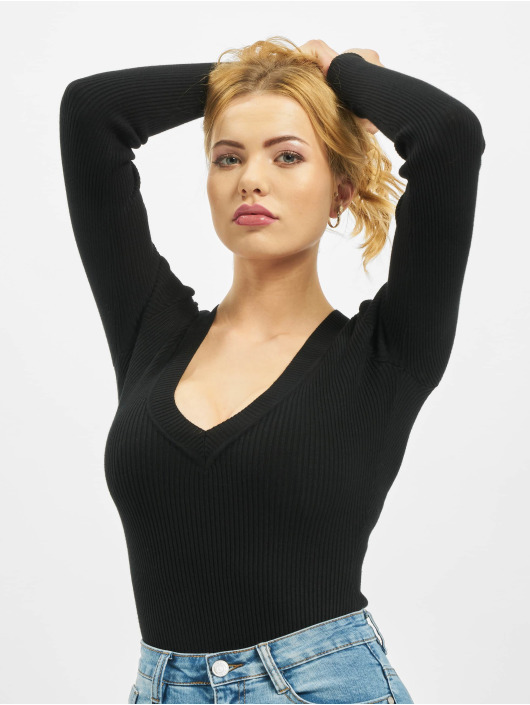 Missguided Body Ultimate Plunge Knitted negro