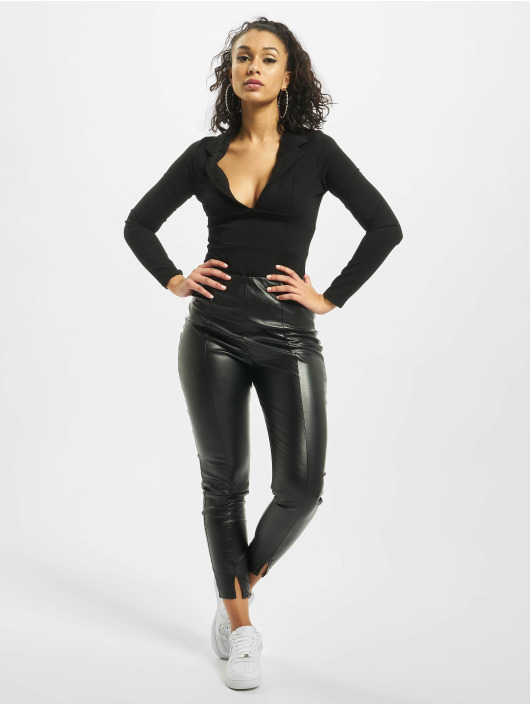 Missguided Body Collar Detail Corset Long Sleeve negro