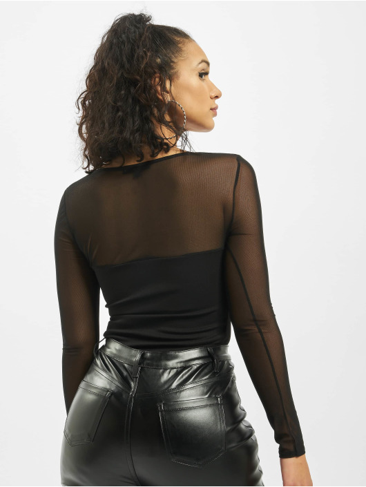 Missguided Body Mesh Detail Bust Seam Long Sleeve nero