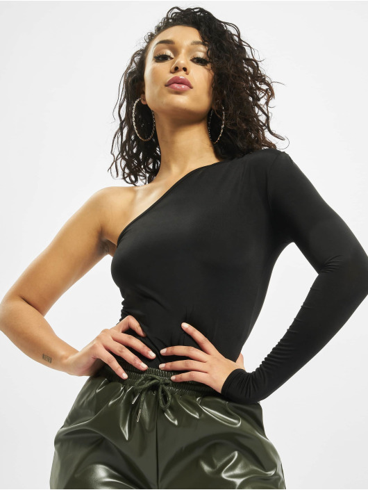 Missguided Body Slinky One Shoulder Long Sleeve nero