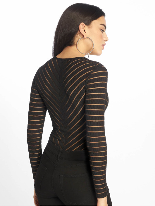 Missguided Body Long Sleeve V Neck Chevron Mesh noir