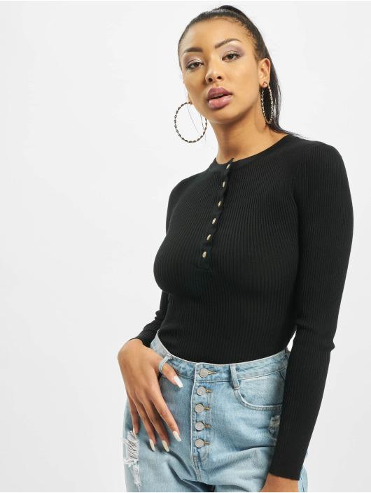 Missguided Body Grandad Collar Long Sleeve noir