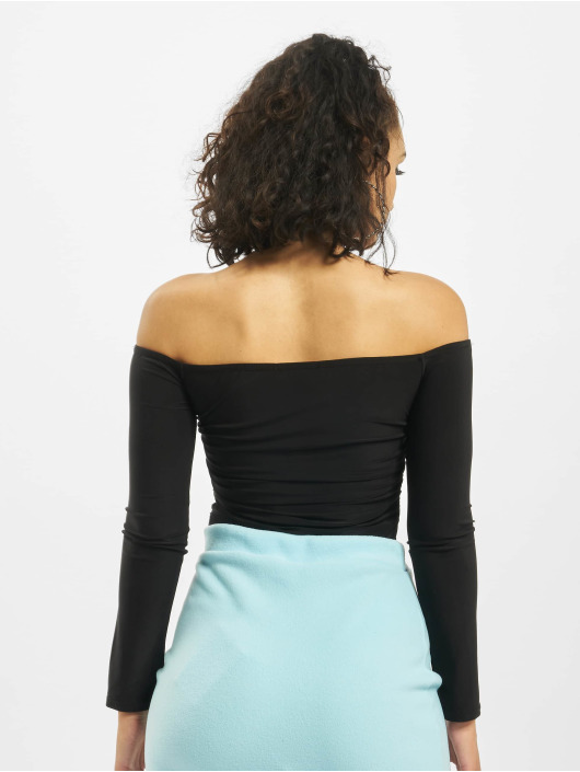 Missguided Body Ruched Centre Bardot Long Sleeve noir