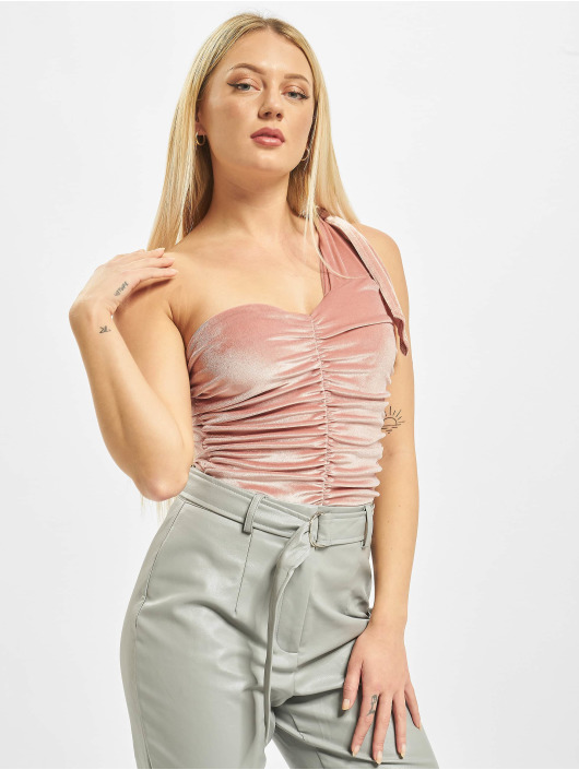 Missguided Body Velvet One Shoulder rosa