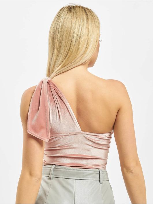 Missguided Body Velvet One Shoulder rózowy