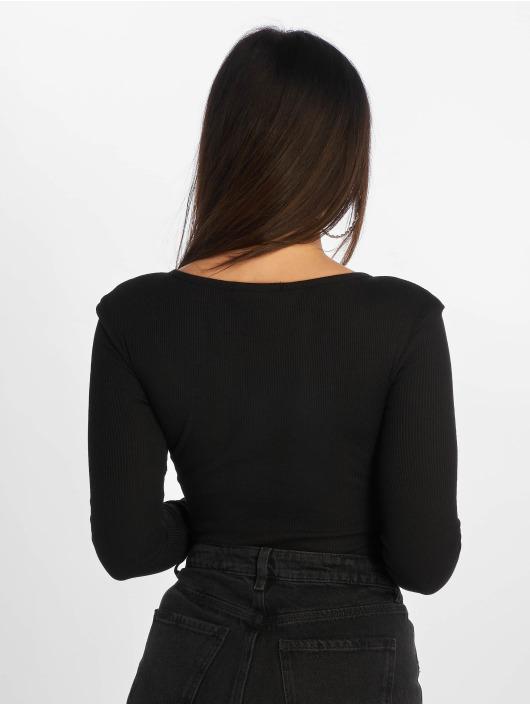 Missguided Body Zip Front Scoop Neck Rib svart
