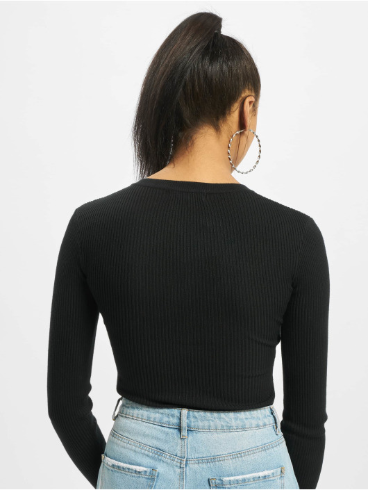 Missguided Body Grandad Collar Long Sleeve svart