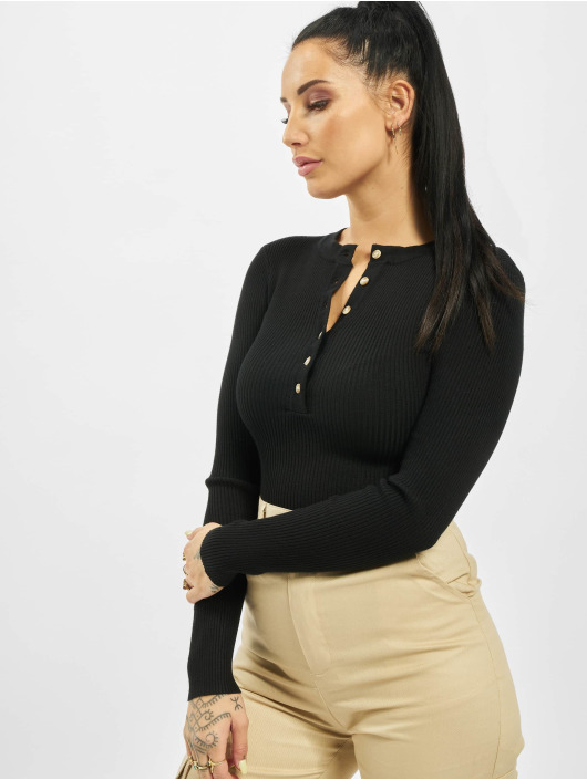 Missguided Body Tall Grandad Collar Long Sleeve svart