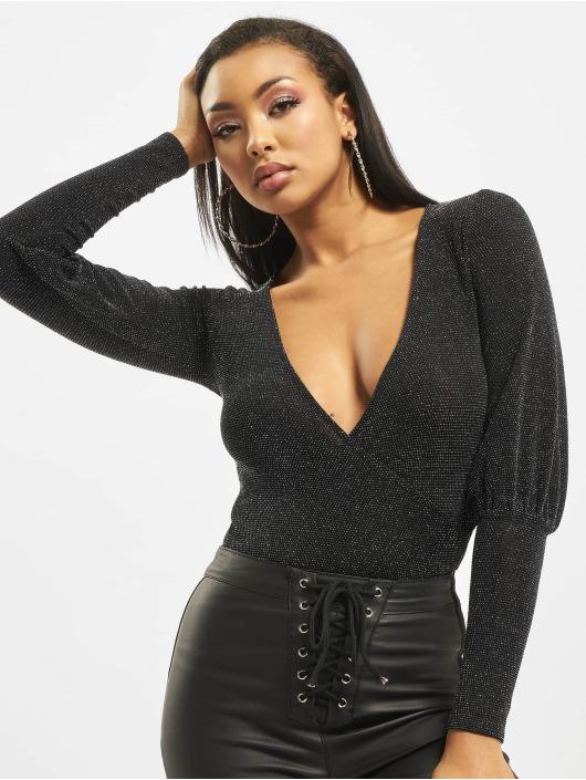 Missguided Body Longsleeve Deep Cuff Glitter Wrap svart