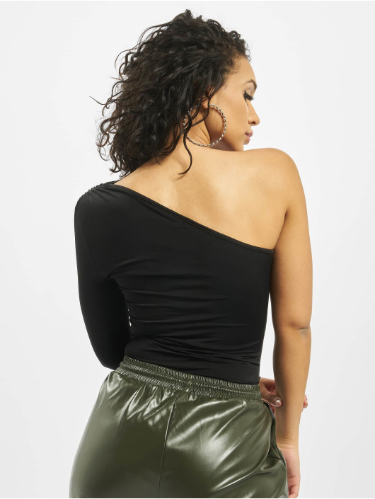 Missguided Body Slinky One Shoulder Long Sleeve svart