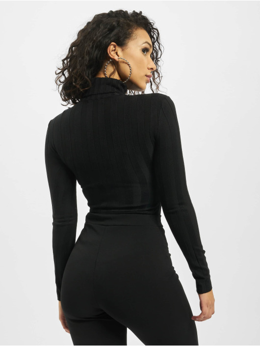 Missguided Body Petite Extreme Rib Roll Neck svart