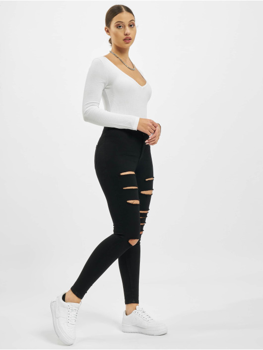 Missguided Body V Neck Ribbed vit