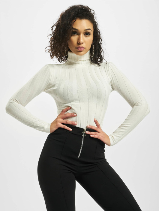 Missguided Body Petite Extreme Rib Roll Neck weiß