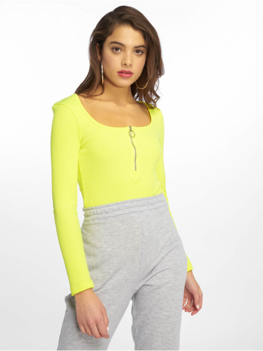 Missguided Body Zip Front Scoop Neck LS zelená