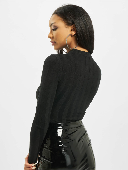 Missguided Body Petite Extreme Rib Crew Neck zwart