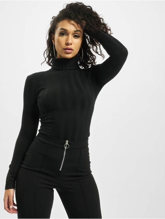 Missguided Body Petite Extreme Rib Roll Neck zwart