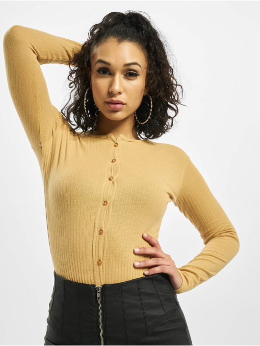 Missguided Bodystocking Button Front Rib Long Sleeve beige