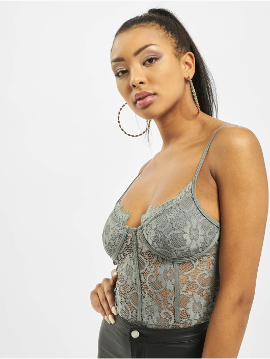 Missguided Bodystocking Petite Strappy Lace Cupped grå