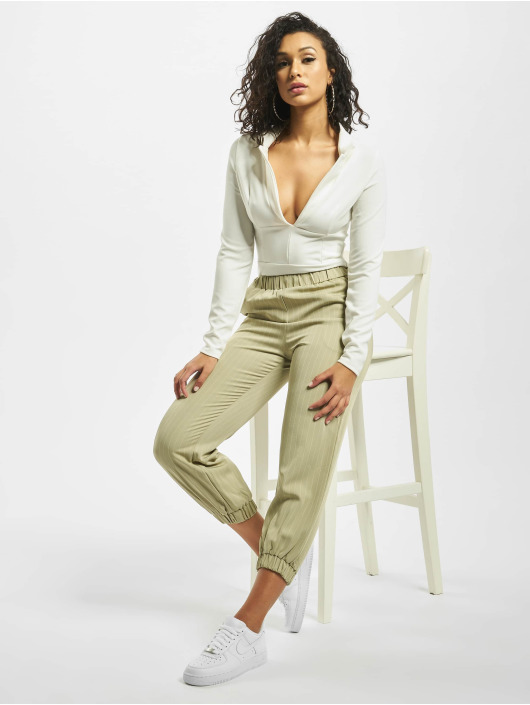 Missguided Bodystocking Collar Detail Corset Long Sleeve hvid