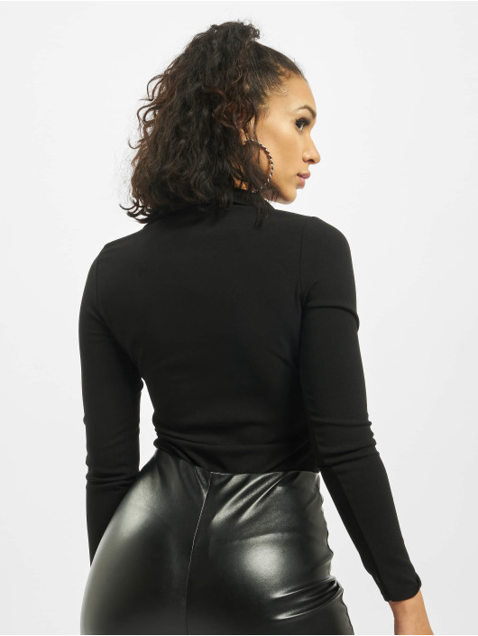 Missguided Bodystocking Collar Detail Corset Long Sleeve sort
