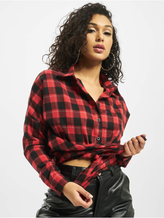 Missguided Camicia Oversized Brushed Check rosso