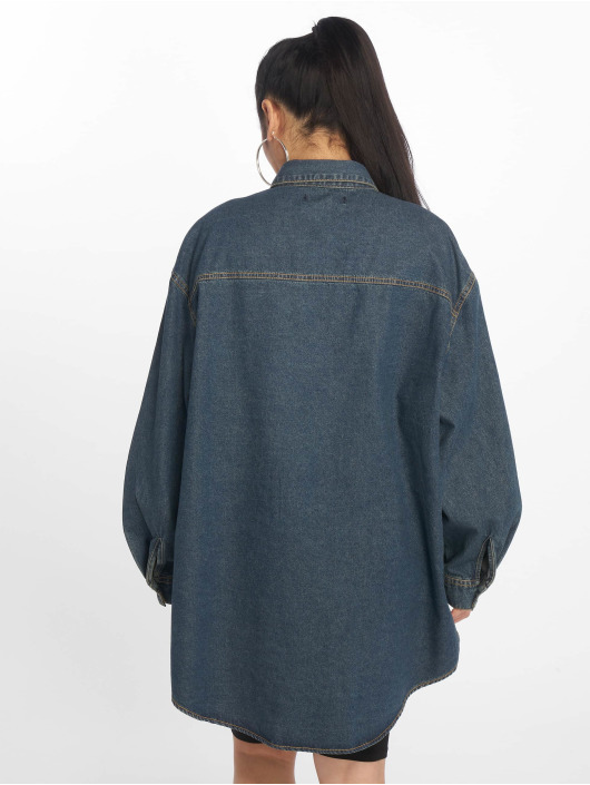 Missguided Camisa Vintage Super Oversized Boyfriend azul